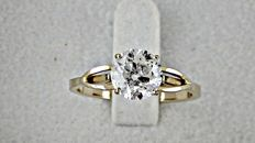 1.50 ct  round diamond ring made of 18 kt yellow gold - size 7,5