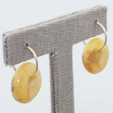 Amber hoop earrings with 18 kt gold, 16 mm