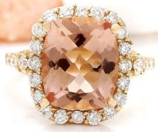 6.68 Carat Morganite And Diamond Ring In 14K Solid Yellow Gold Ring Size: 7 *** Free Shipping *** No Reserve *** Free Resizing ***