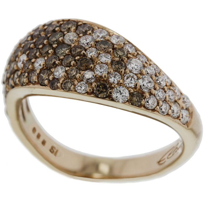 Elaine Firenze 14 k rose gold women´s ring set with brown and white diamond - ring size 17.5 (55)
