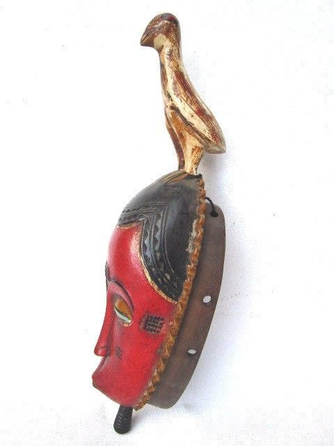 Facial Mblo mask with a bird - BAULE - Ivory Coast