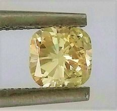 Cushion Cut  - 0.53 carat   -  VVS2  clarity -  Natural Fancy Intense Yellow  - Natural Diamond - IGL Certificate + Laser Inscription On Girdle