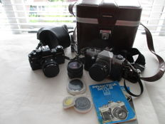 Set of 2 vintage Praktica MTL 3 and Praktica BC 1 - photo cameras with bag and additional lenses