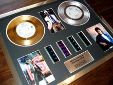 """Michael Jackson : Gold Platinum Plated Disc Record Film Cell Montage Award """"The King of Pop"""""""