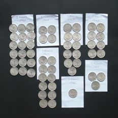 France – 5 Francs 1960/1966 (lot of  57 coins) – Silver.