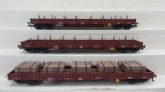 Fleischmann H0 - 5787 NL - Three four-axle stanchion wagons of the NS, one loaded with wood