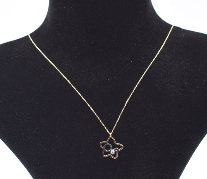 14k rose and rose and white  gold  necklace with  star   pendant   - 45 cm