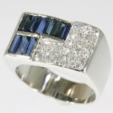 Diamond and sapphire platinum Art Deco style men's ring from the fifties