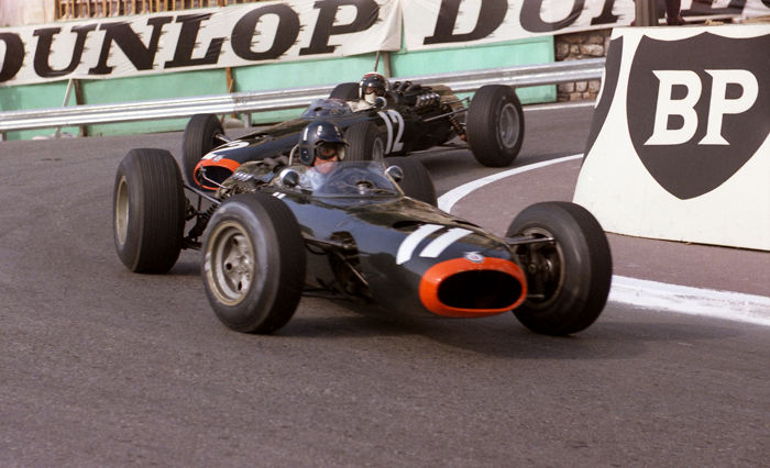 Graham Hill BRM  and Jackie Stewart BRM 1966 Monaco grand prix Colour Photograph. 54cm x44 cm.