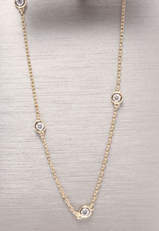 Yellow gold diamond necklace with 10 diamonds totalling 0.50 ct *** No minimum price***