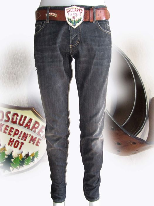 Dsquared2 - Jeans & Dsquared leather metal belt