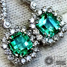 Emerald Earrings Natural Green Colombian Emerald Gemstone And Diamond in 18 kt white gold 2.91 ct - Certified - No Reserve