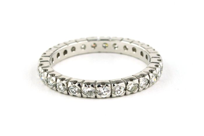 Diamond(+/-1.00ct G (wesselton)/VS) set on 18k White Gold Full-setting Wedding Band/Ring - E.U Size 56
