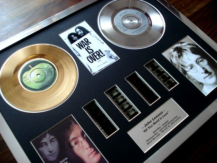 John Lennon : Gold Platinum Plated Disc Record Film Cell Montage Award