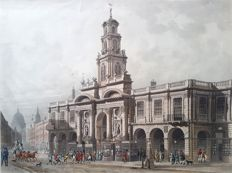 Daniel Havell (1785-1822) Published by Rudolph Ackermann & Thomas Hosmer Shepherd - Early depiction of the Royal Exchange in Cornhill London before it burned down in 1838 - 1816
