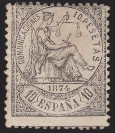 "Spain 1874 – Allegory of Justice. Marked by ""Llach y A."" Roig – Edifil No. 152"