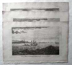 3 prints Published by J. Cooke (18th century) - Seascape plus two other views on Birmingham & Hackney - ca 1780