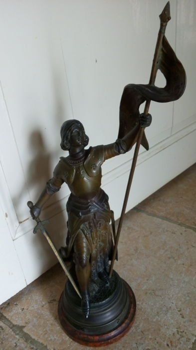 "Spelter signed Louis Moreau - Jeanne d'Arc Warrior at the coronation of Charles VII - ""God wants it"" - France - 19th century"