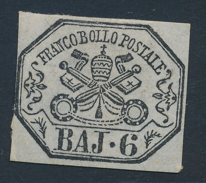 Stato Pontificio 1852 - Set/series nearly completed + 6 baj. Pearl Grey Sass. NN: 1; 1A; 2; 2A; 3; 4; 5; 5A; 6; 7; 7A; 7Aa; 8; 9