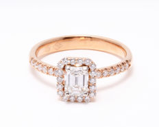 Ring in 18k rose gold decorated by diamonds 1.00ct total - Ringsize: 54.5/17.75