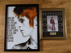 "David Bowie "" Space Oddity "" lyrics print & Ziggy Stardust film cell display."