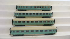 Roco H0 - 44288/44283/44290 - 4 express train passenger/dining wagons 1st/2nd/3rd class Plan D of the NS, in turquoise colour scheme