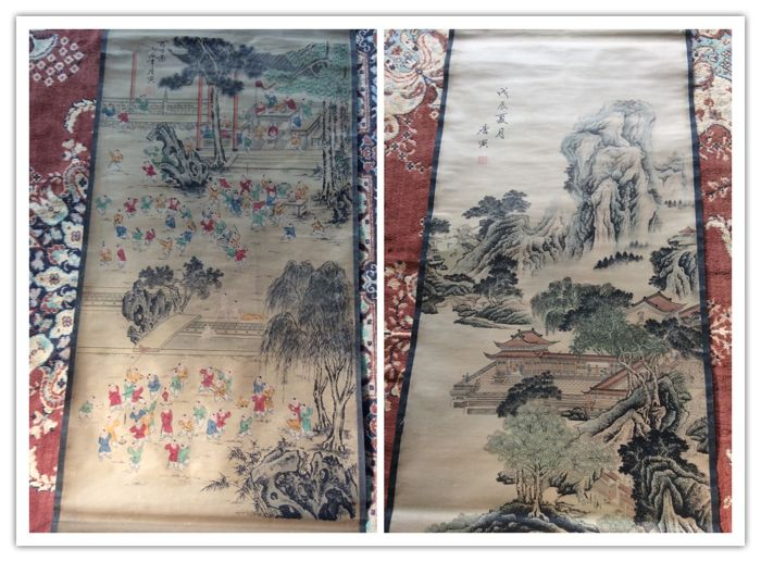 Printed reproduction of old paintings of Tang Yin(Tang Bohr)1470-1524 - China - second half 20th century
