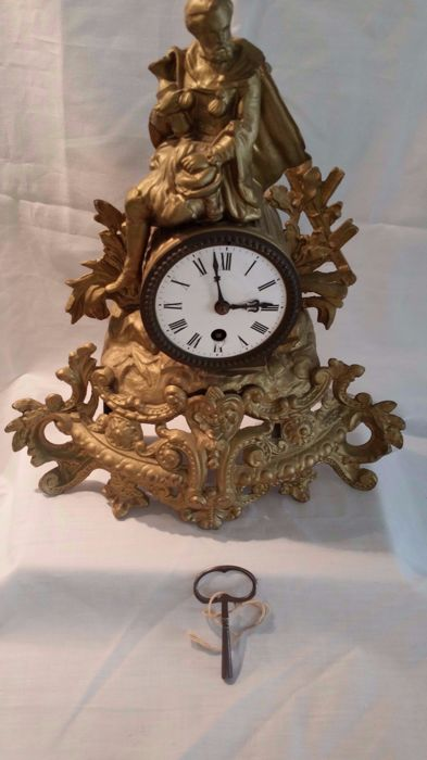 Zinc alloy mantle clock - France - 1880s