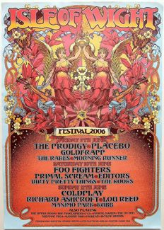 "Isle of Wight  Rare psychedelic ""Tripping"" Dance Concert Poster 2006"