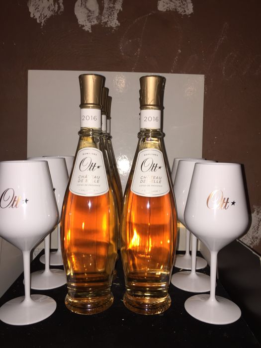 2016 Chateau de Selle Rosé Domaine Ott - 6 bottles and 6 original Domaine Ott glasses