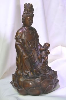 Bronze (30 cm) statue Kuan Yin with child - China - late 20th century