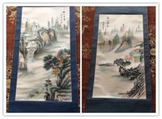 Two painting scrolls hand painting of Landscape - China - late 20th century