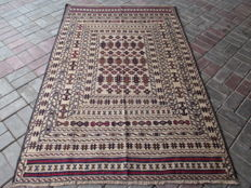 3410 # STUNNING SUPER QUALITY HAND MADE NEEDLE WORK SUMAK WOOL KILIM 130 x 203 CM