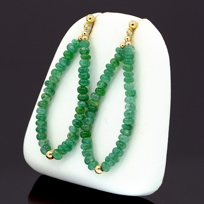18k/750 yellow gold earrings with emeralds - Total earrings length: 48 mm