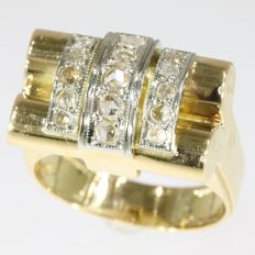 Bicolour gold diamond (unisex) retro ring - anno 1945