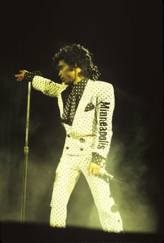 Prince, three  colour photographs, live 1983, 1985 and 1988
