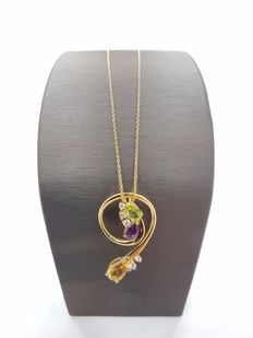 Alfieri & St John - 18ct Yellow Gold Diamond & Amethyst & Citrine & Peridot Pendant with Necklace - Length of Necklace 40 cm, Length of Pendant Approx 4 cm