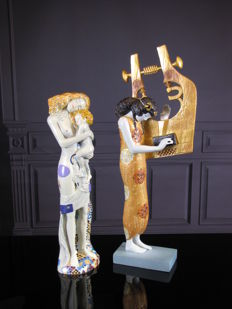 Gustav Klimt-Mouseion-2 Sculptures Three Stages of Woman & Poetry