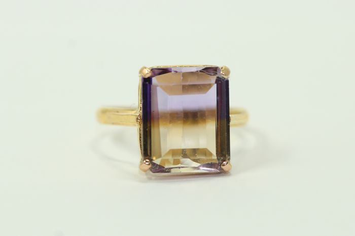 18 kt yellow gold ring set with ametrine – size 58 ***No reserve price***