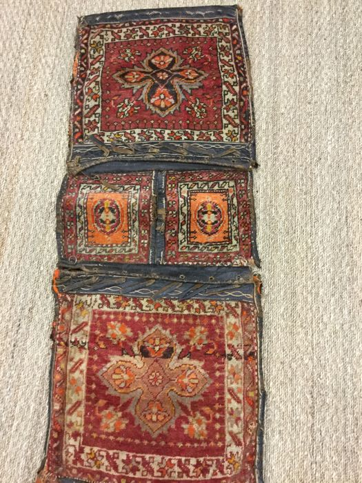 Authentic and rare double bag Kurdish early 20th century leather and wool 127 cm x 48 cm