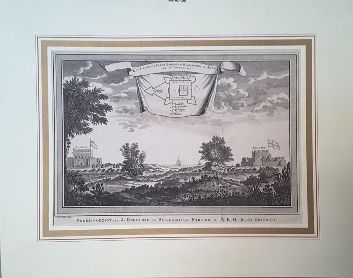 Akra, Ghana, Africa - Schley/Smith - Vue Nord des Forts Anglois et Hollandois d'Akra - 1727
