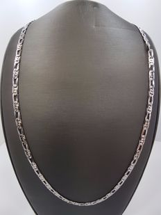 18kt White Gold Flat Link Men's Necklace, Length 60cm
