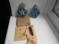 2 x   vintage  RAC  badges original  round  RAC  badge  dates 1954 - 1960 diamond RAC badge dates 1946 - 1954