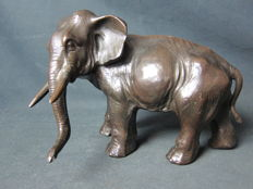 Antique spelter elephant statue - France - early 20th Century