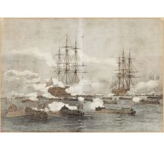 Woodcuts - unknown artis t- Landing of the British Royal Navy