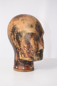 Wooden head for a mannequin - ca. 1890