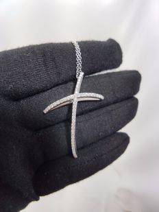 Alfieri & St John - 18ct White Gold Diamond Cross