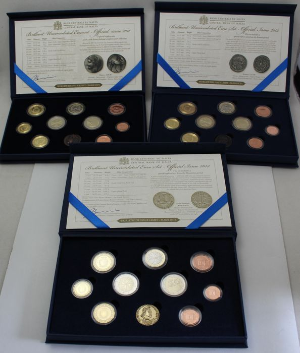 Malta - year packs/year collections 2011, 2012, 2013, including special 2 Euro coins, 2 x 2 Euro 2012 and  2013 with mint mark