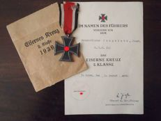 Iron Cross 2nd class with charter in original pouch