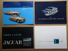 Jaguar - lot de 4 brochures MARK X, 420, 420G, type E 4.2L, type 50.3L vers 1960
